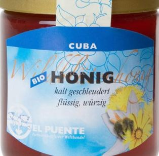 Cuban organic honey from Campilla blanca. Trade Fair label and priced at about $8/pound. Here's a link to the German vendor.