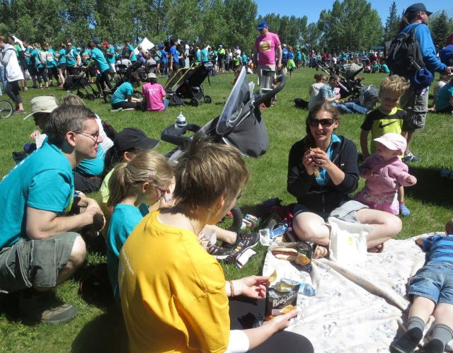 Betty's Run, in Calgary, is the largest ALS fundraiser in the country. This is part of my family, surrounded by participants.