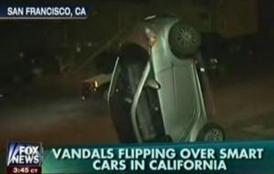 flipped smart car